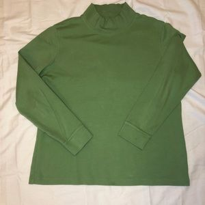 Lime green LL Bean mockneck in a Medium